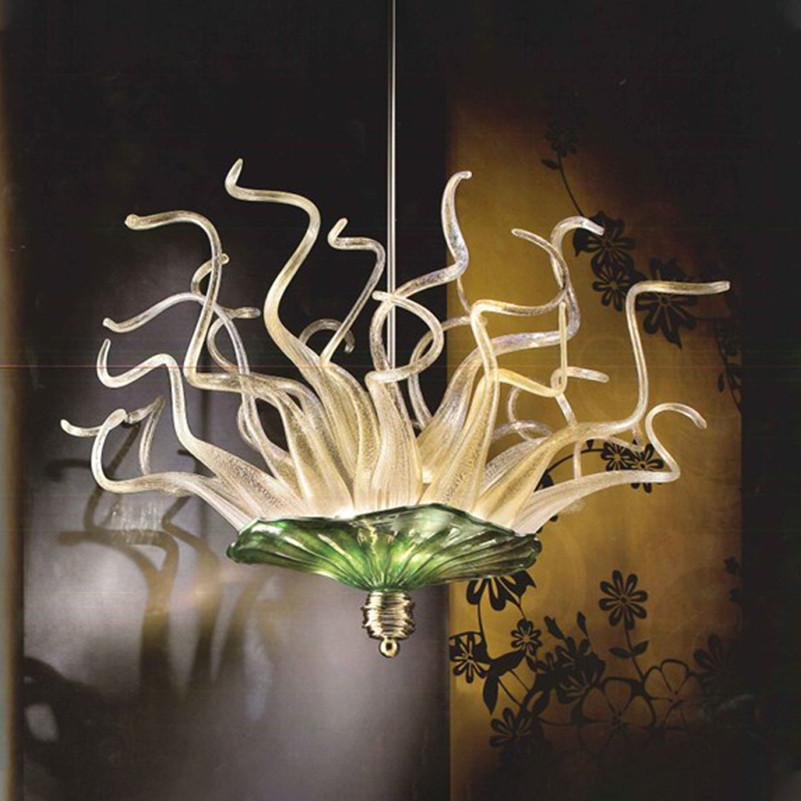 Murano Glass Flower Chandelier Lighting LED Hand Blown Glass Pendant Light 24 Inches 110-240V Modern Chandelier for Bedroom Home Decoration