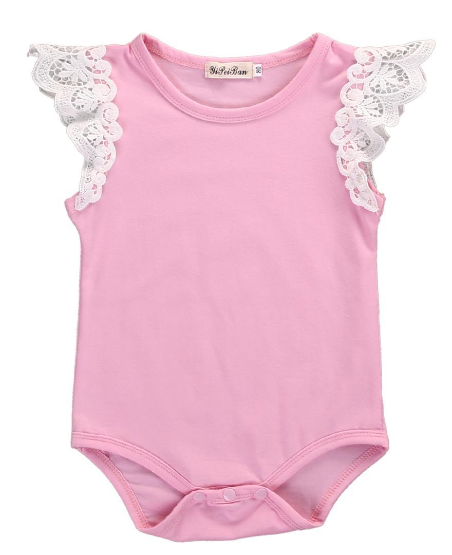 Kid Infante recém-nascido do bebé Roupa Tops Bodysuit Laces Ruffles Macacão Conjuntos sunsuit Vestuário Criança Crianças menina vestuário