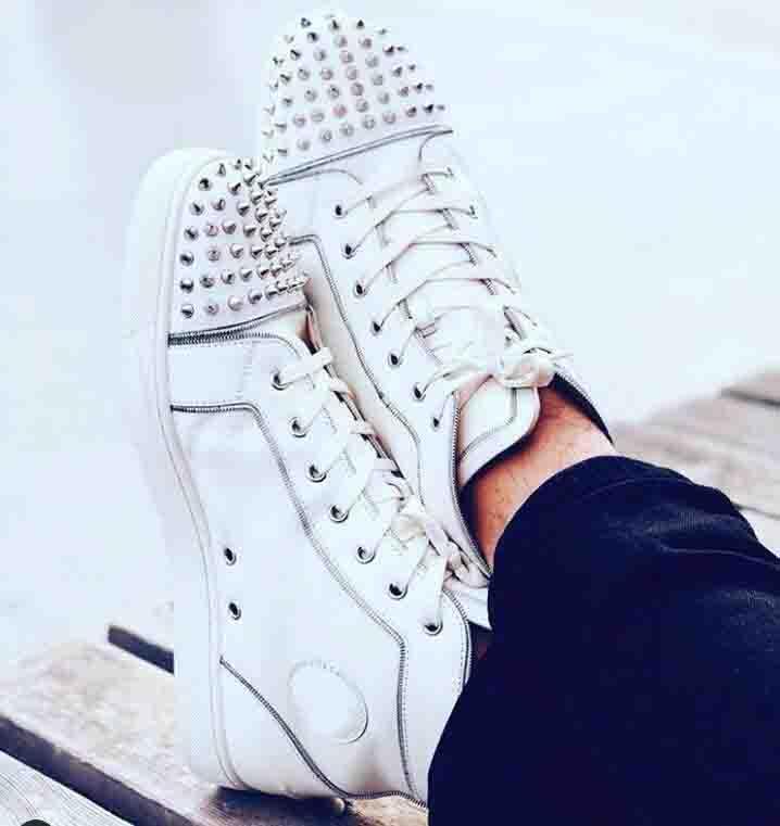 Yeni Kalite Kadınlar, Erkekler Moda Ayakkabılar Kırmızı Alt Sneaker Beyaz Leahter Dikenler Erkekler Düz Lüks Parti Düğün Ayakkabı, Açık Casual Eğitmenler