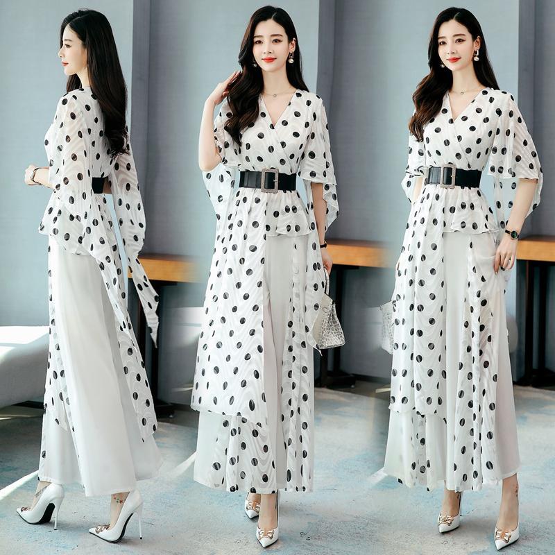 Два кусок платье 2021 весенние летние кусочки костюмы женщины с коротким рукавом точка блузки топы рубашки и широкие брюки ноги брюки леди 2 комплекты