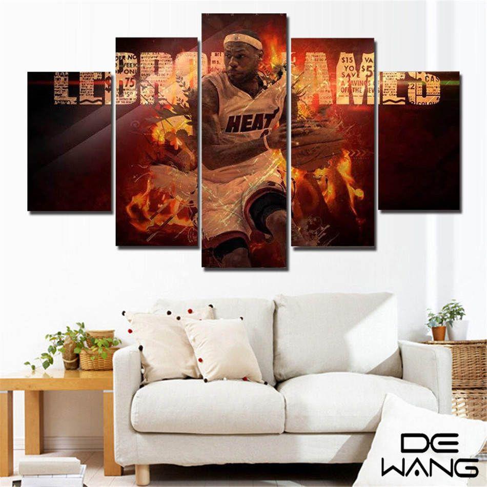 Basket Sports LeBron James, 5 Impression toile Pièces HD Nouvelle Maison Décoration Art Peinture / (Unframed / encadré)