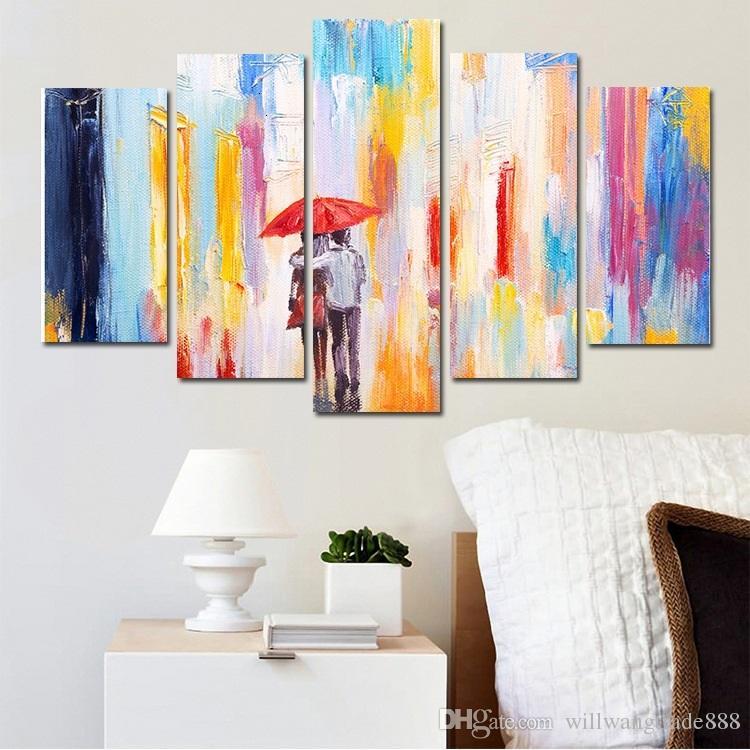 Acheter Combinaisons Hd Sweet Amoureux Marchant Sous La Pluie Sans Cadre Toile Peinture Décoration Murale Imprimé Peinture à L Huile Affiche De 10 62