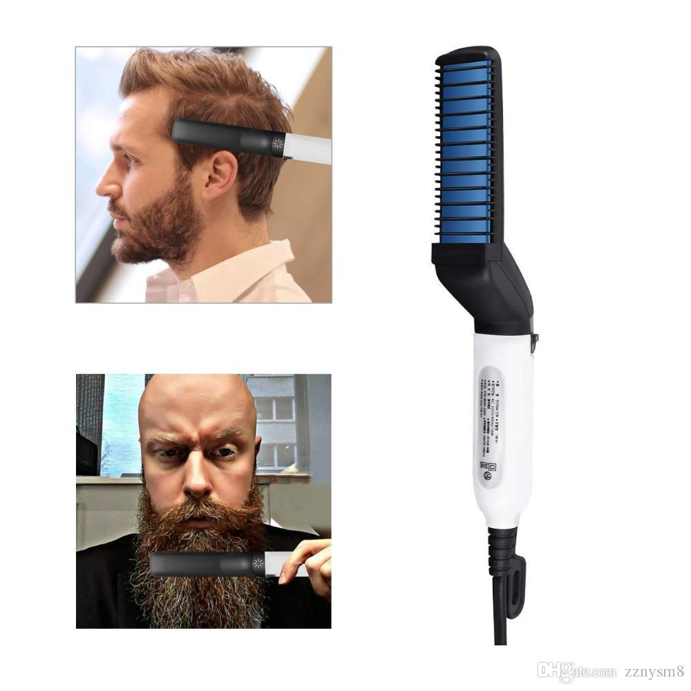 Men Hair Straightener Curler Comb Multifunctional Moustache Hair Styling Beard Styler Irons Quick Electric Hair Brush Bulk Stock
