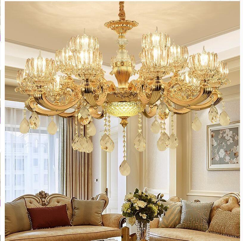 سبائك شحن مجاني كريستال الثريات الذهبية اللون قلادة مصباح غرفة الطعام المعيشة اللوبي مصباح الإضاءة E14 LED AC شمعة لمبات