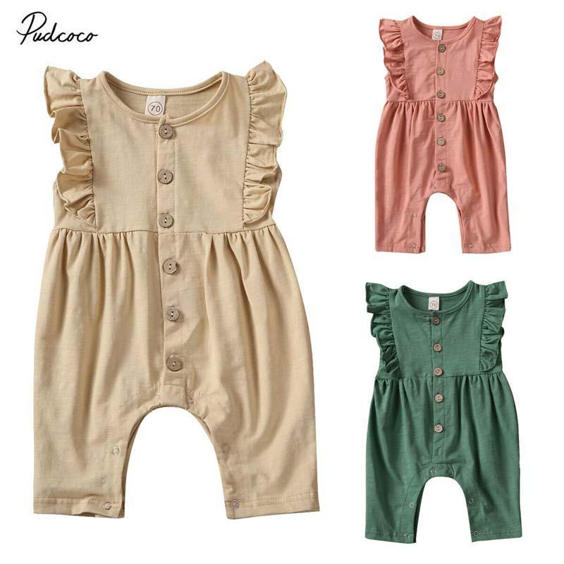 2020 Vêtements bébé d'été du nouveau-né pour bébé Vêtements de bébé fille Ruffle manches doux Romper Bambou Tissu Jumpsuit Tenues solides