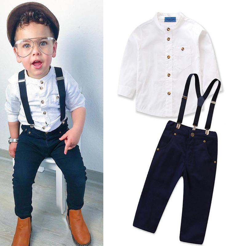 Bebé de los trajes para damas Blanco Sólido Azul marino Sujetador Pantalones Niños Ropa para las ligas sola fila hebilla de bolsillo con cremallera largas Trajes de manga