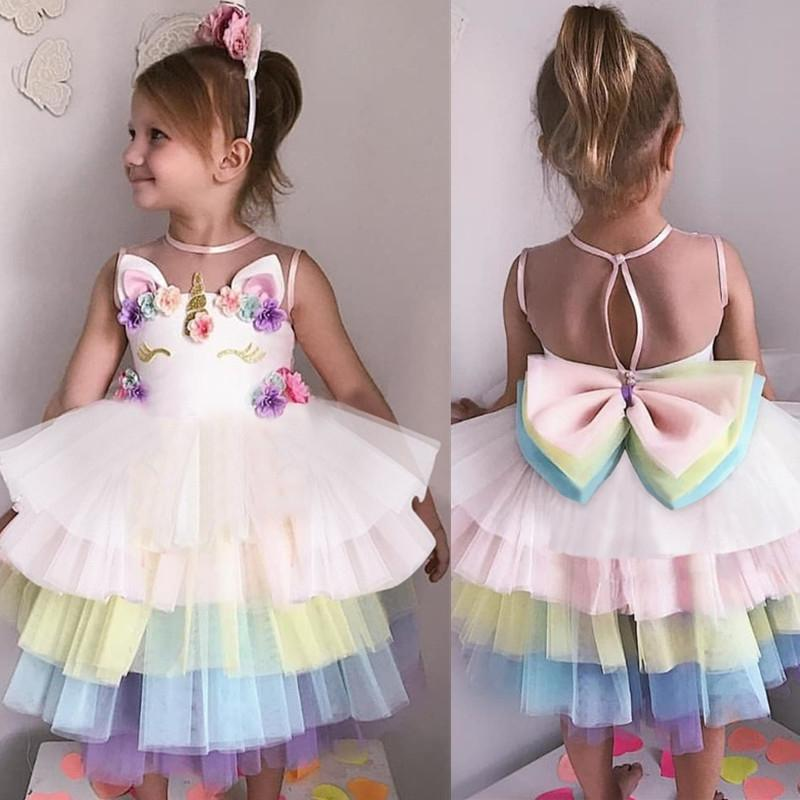 Summer Girls Unicorn Dress Baby Summer Fancy Princess Costume For Kids Girl Birthday Party Dresses Teens Children Tutu Gown 8 10MX190822