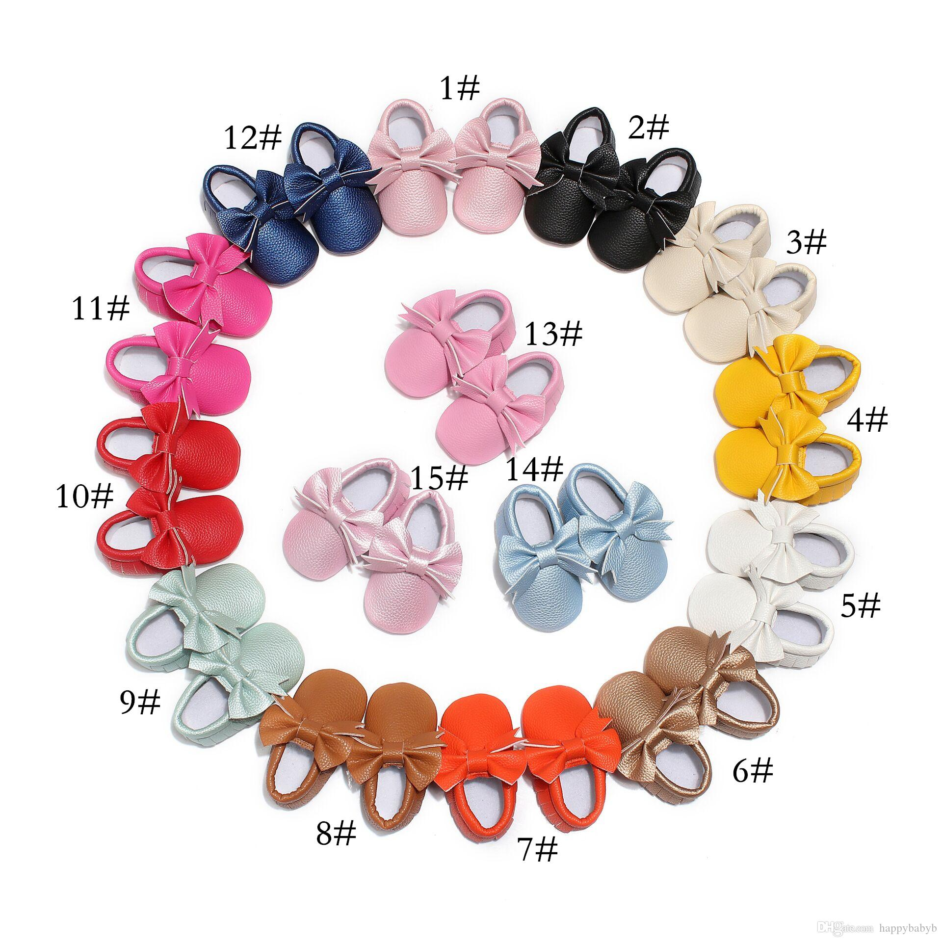 15 Colors New Tassel Baby First Walker Shoes moccs Baby moccasins soft sole PU leather Colorful Bow booties toddlers shoes
