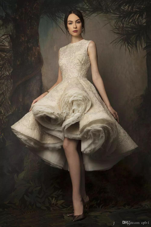 Vestidos de baixa bala de altura vestidos de noite desgaste 2019 Krikor Jabo Jabotian jóias decote sem mangas comprimento do joelho vestidos de baile de renda com lantejas e pérolas
