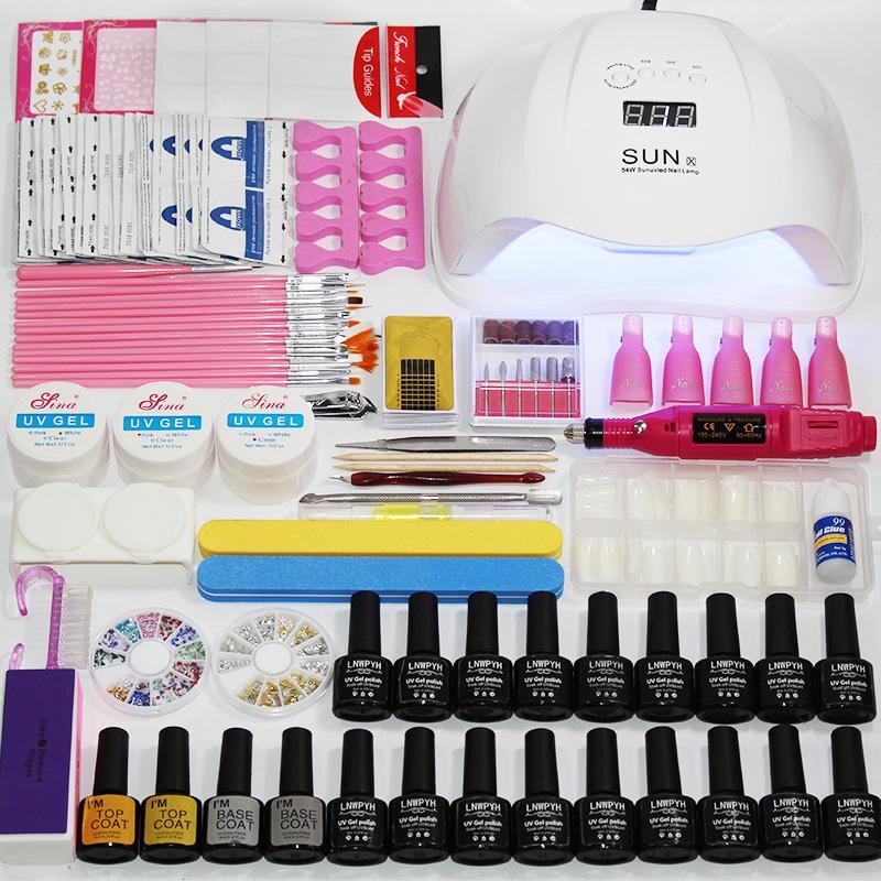 Tırnak Seti Jel Oje Kiti UV LED Lamba Kurutucu 54 W / 48 W / 36 W Ile 18 Parça Lehçe Set Sanat Manikür Araçları Kiti