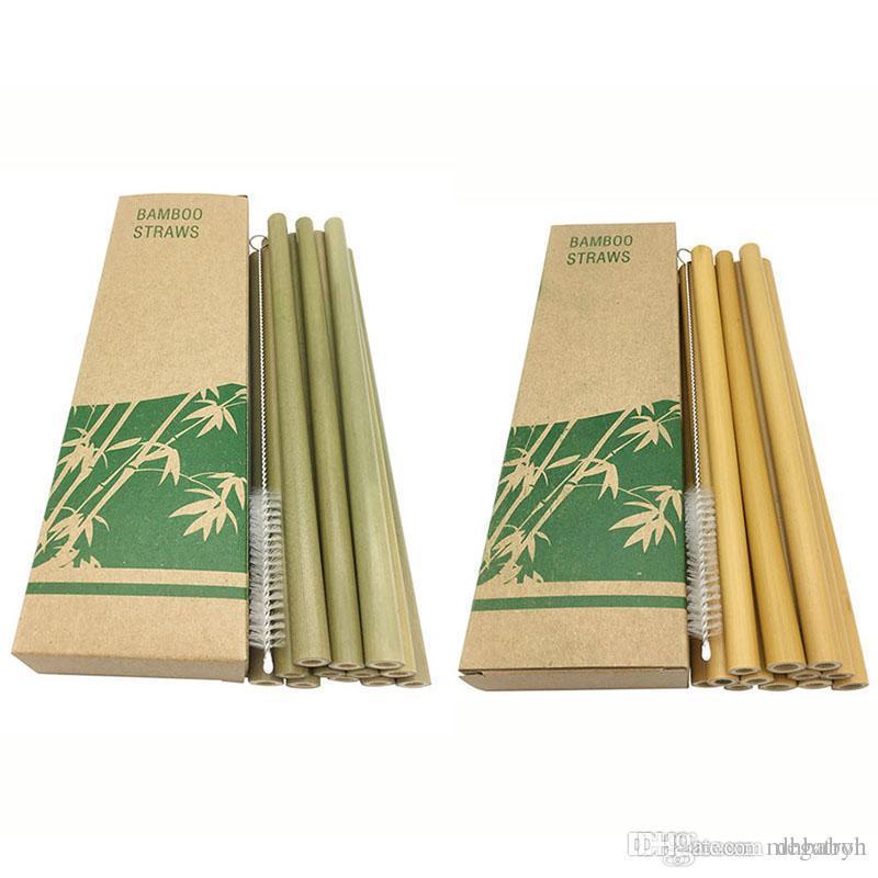 Bambu Payet Yeniden kullanılabilir Çevre Dostu El işi Doğal Bambu İçme Pipetler ve Temizleme Fırçası Ücretsiz Kargo ayarlar