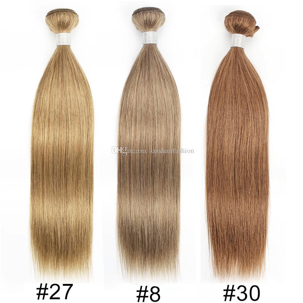 Kisshair Color8 Ash Brown Color27 Blonde di miele Color30 Media Auburn Wave Etero corpo tessuto dei capelli umani brasiliani del Virgin Hair Extension