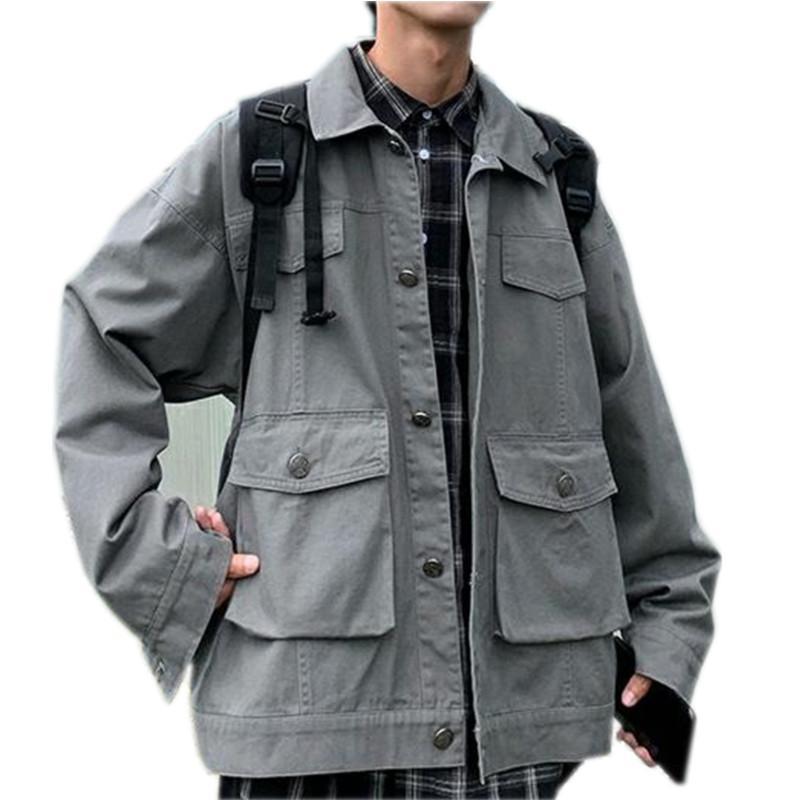Herbst New Jacket Men Fashion Solid Color beiläufige Baumwolle Multi -Pocket Tooling Jacket Man Street Hip -Hop lose Bomberjacke Junge