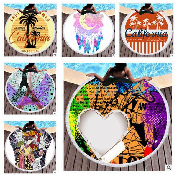 Round Beach Towel With Tassels For Kids Adults Tapestry Purple Owl Microfiber Towel 150cm Blanket Yoga Mat 465 Styles Free Shipping