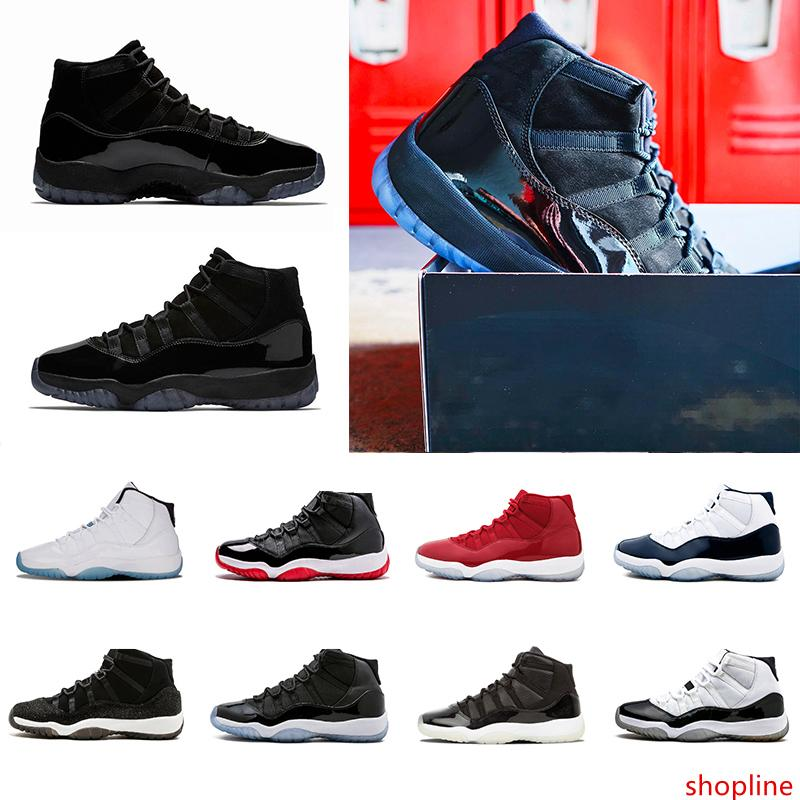 Cap und Gown Prom Night 11s 11 Gym Red Mitternachts Navy Space Jam Basketball-Schuhe Männer Frauen Blackout Konsonanz Sportschuh-Turnschuhe gezüchtet