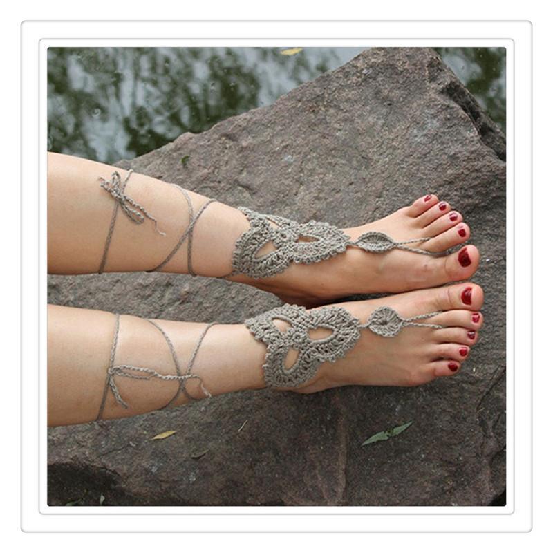 Düğün Halhallar Sahil Düğün Tığ Takı Düğün Barefoot Sandalet Plaj Çıplak Ayakkabı Yoga Zincirler Ayak Halhallar Gelin Dantel Ayakkabı