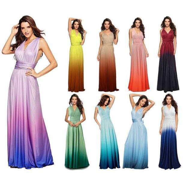 2020 Frauen-Sommer-Partei-Maxi-Kleid Bohemian Tie-Dye Illusion Druck langen Trägerkleid Sexy V-Ausschnitt Split Ferien Strand-Kleider Vestidos