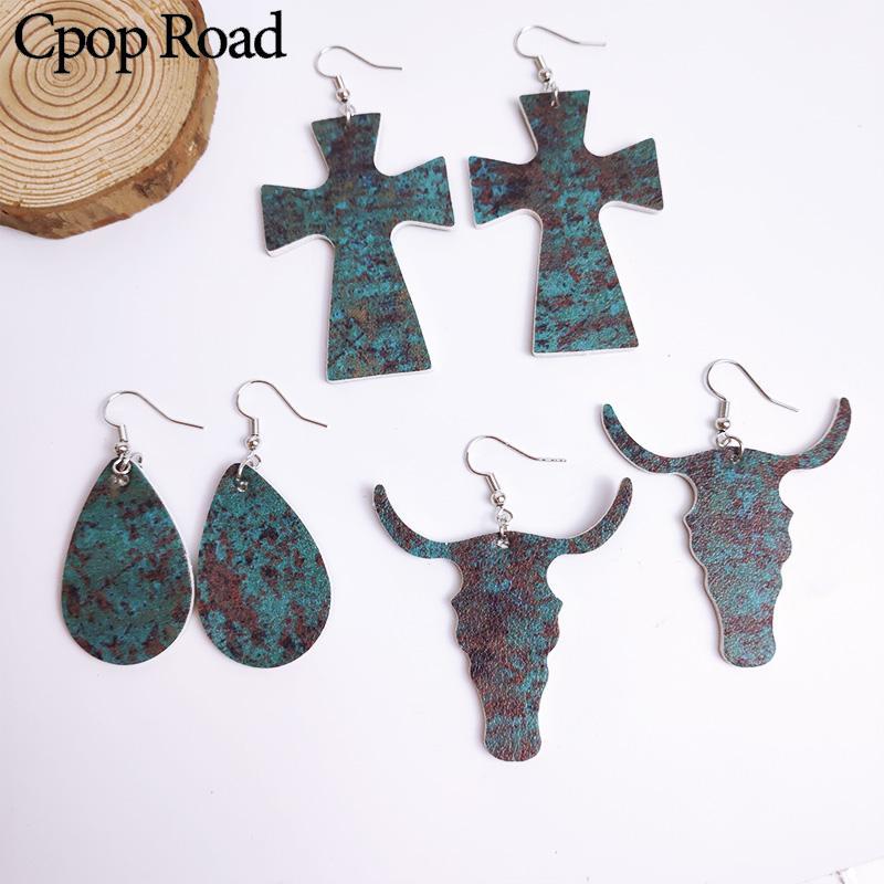 Cpop Nouveau 3 Motif Vintage Copper Crochet Bull Head Croix Boucles d'oreilles en faux cuir eau Boucles d'oreilles pendantes Femmes Bijoux Accessoires Vente chaude fille cadeau
