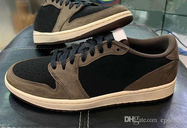 Лучшие качества Трэвис Скотт 1 Low Cactus Jack Man Basketball обувь Новые 1s Черный парус Dark Mocha University Red Дизайнерские тренажеры