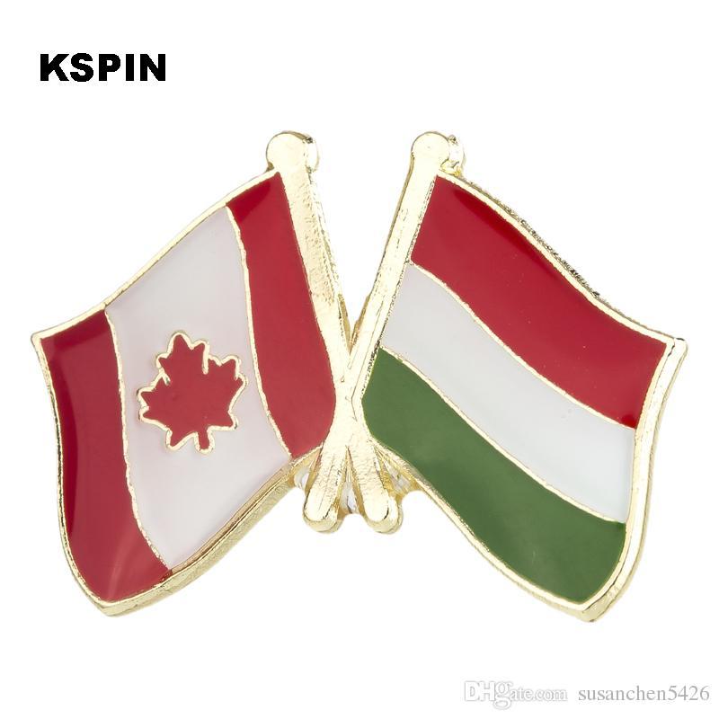 Insignia Metal Canadá y Hungría Bandera del país insignias para ropa en insignias broche de seguridad KS2194