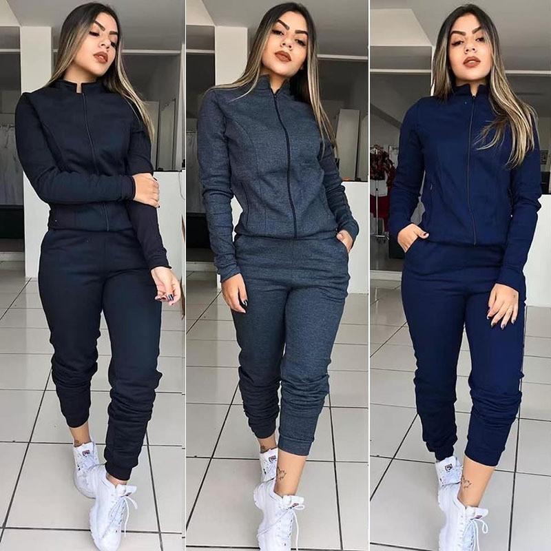 Bayan Giyim 2 Parça Set Rahat Standı Yaka Uzun Kollu Kadınlar Iki Parçalı Kıyafetler Katı Renk Kadın Eşofman