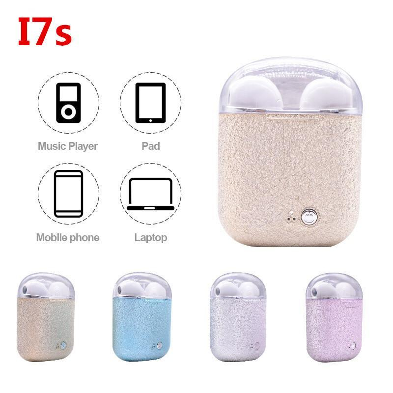 I7S TWS Grind arenaceous electroplating Wireless Bluetooth Headphones Earbuds Earphones with Charging Box for iPhone X IOS Android
