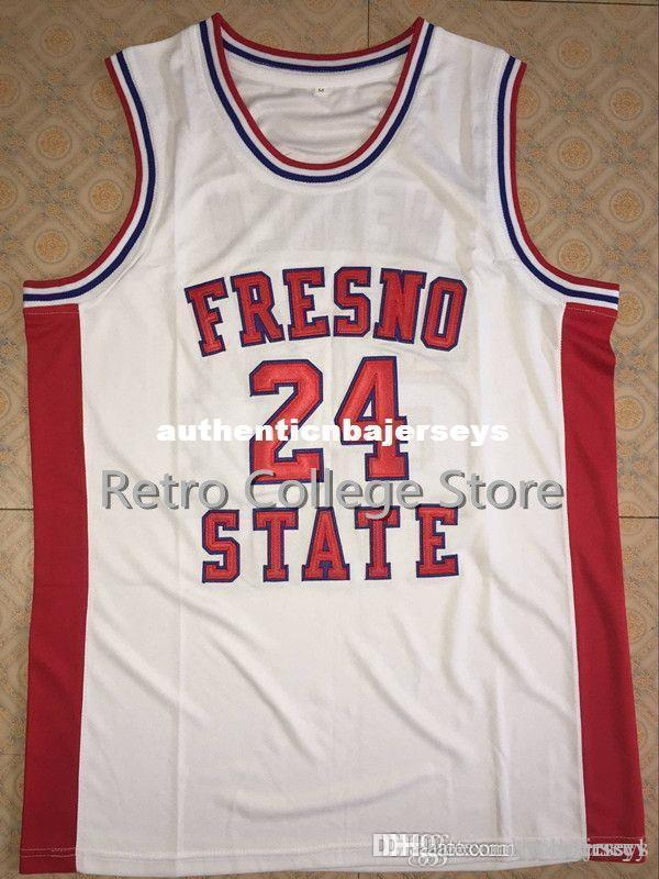 Homens # 24 Chris Herren Fresno estado vermelho branco Basketball Jersey todo o tamanho do bordado costurado Personalizar qualquer nome e nome XS-6XL colete Jerseys