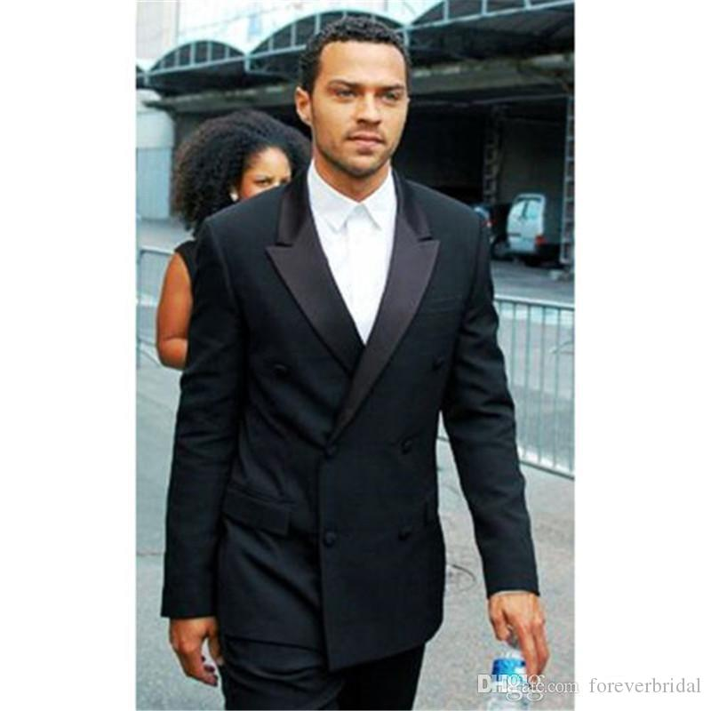 Custom Double-Breasted Black Business Formal Suits Two Pieces (Blazer+Pant) Wedding Men Suits High Quality Groom Wear For Sale