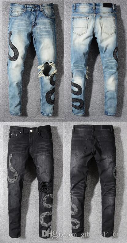 2019 новая топ бренд дизайнер мужских джинсов моды Вышивки змеи стиль роскошь случайных одежды улица мотоцикл рука карандаш нога джинсы