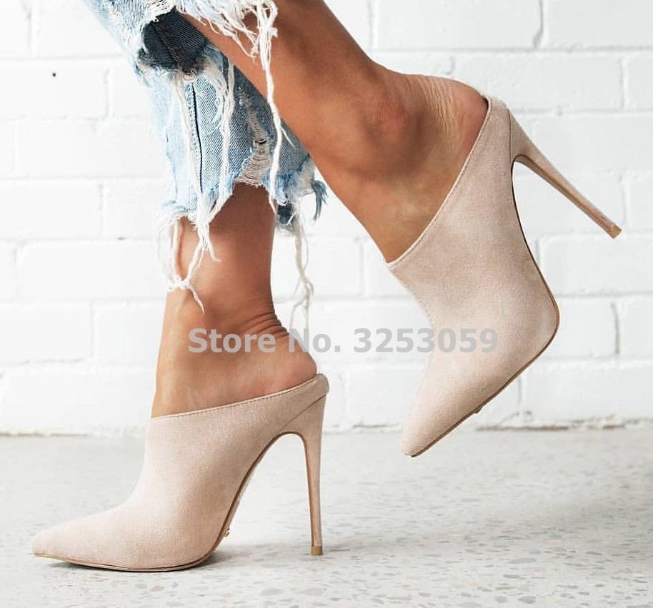 알무 데나 여성 간결한 베이지 색 스웨이드 하이힐 드레스 뾰족한 발가락 슬립 - 온 검투사 펌프 슬리퍼 매일 사무실 신발 펌프