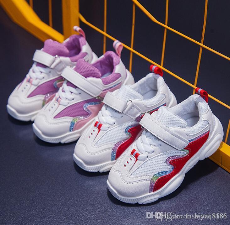 Chicas versión coreana de las zapatillas de deporte 2019 del resorte nuevos muchachos llevan los estudiantes los zapatos para niños red rojo rosa roja
