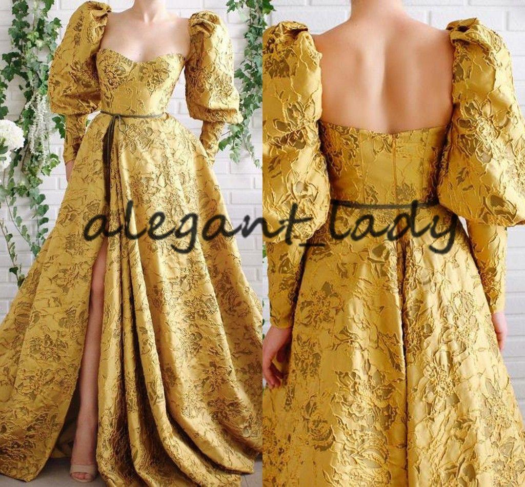 Dubai Arabian Golden Lace Evening Dress 2020 Sweetheart Puffy Long Sleeve Low Back High Slit Arabic Prom Formal Dress abendkleider