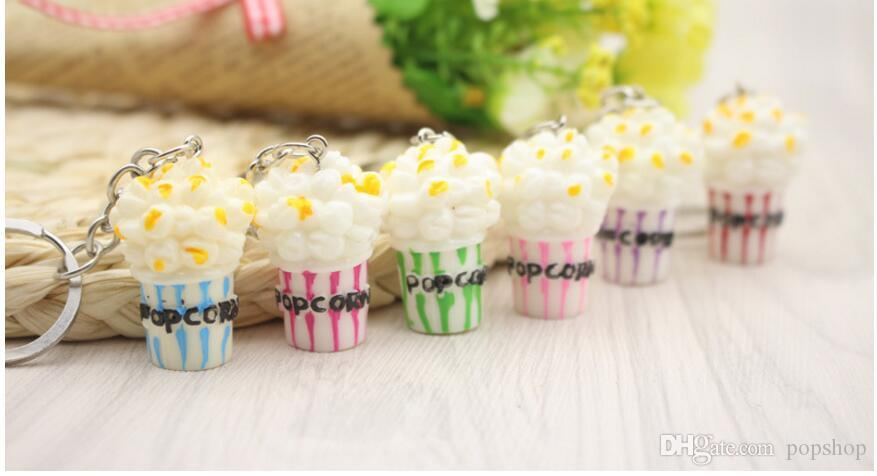 Simulation Artificial Food Keychain Popcorn Bowlful Key Pendant Keyring Novelty Colorful Key Chain For Women Gilrs Jewelry New