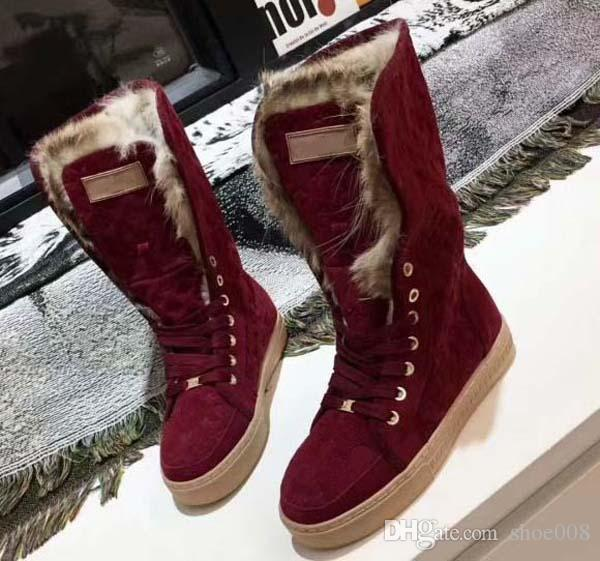 Mit Box! Neue Schneestiefel Sneaker Fashion Sportschuh-Qualitäts-Lederstiefel Pantoffel-Weinlese-Air für die Frau von shoe008 07