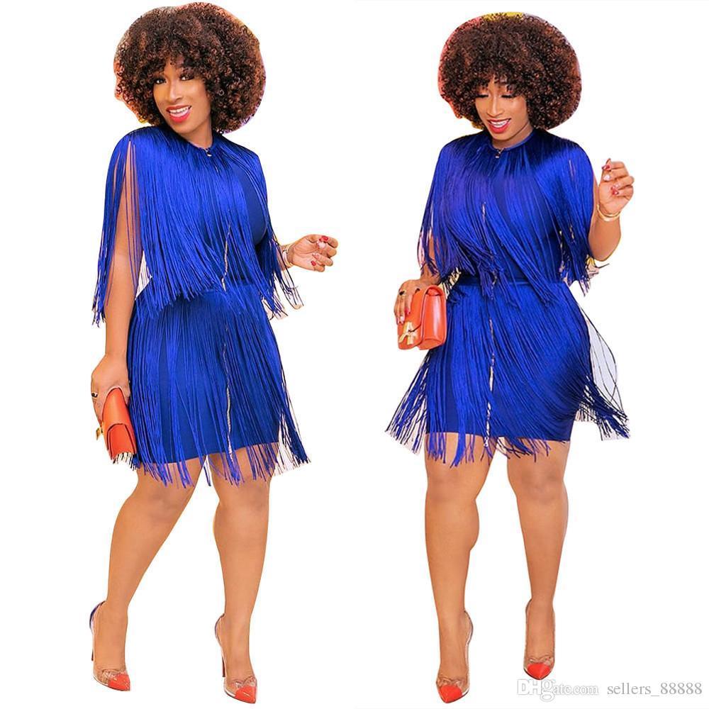 Mulher Fashion Dress Bodycon mangas O Neck franjas detalhes Frente Zippers Vestido Perfeito para Night Out clube Desgaste louco de venda