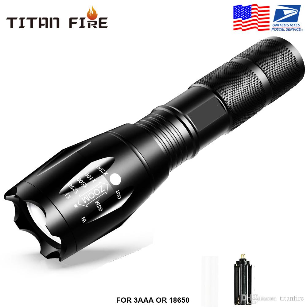 US Lager, G700 E17 CREE XML T6 2000Lumens High Power LED-Taschenlampen Zoomable Tactical LED Taschenlampen Taschenlampe für 1x18650 Batterie