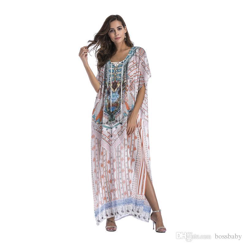 Frauen Gedruckt Kleid Langer Rock Chiffon Äußere Bluse Damen Kleidung Bat Rock V-ausschnitt Bat Sleeve