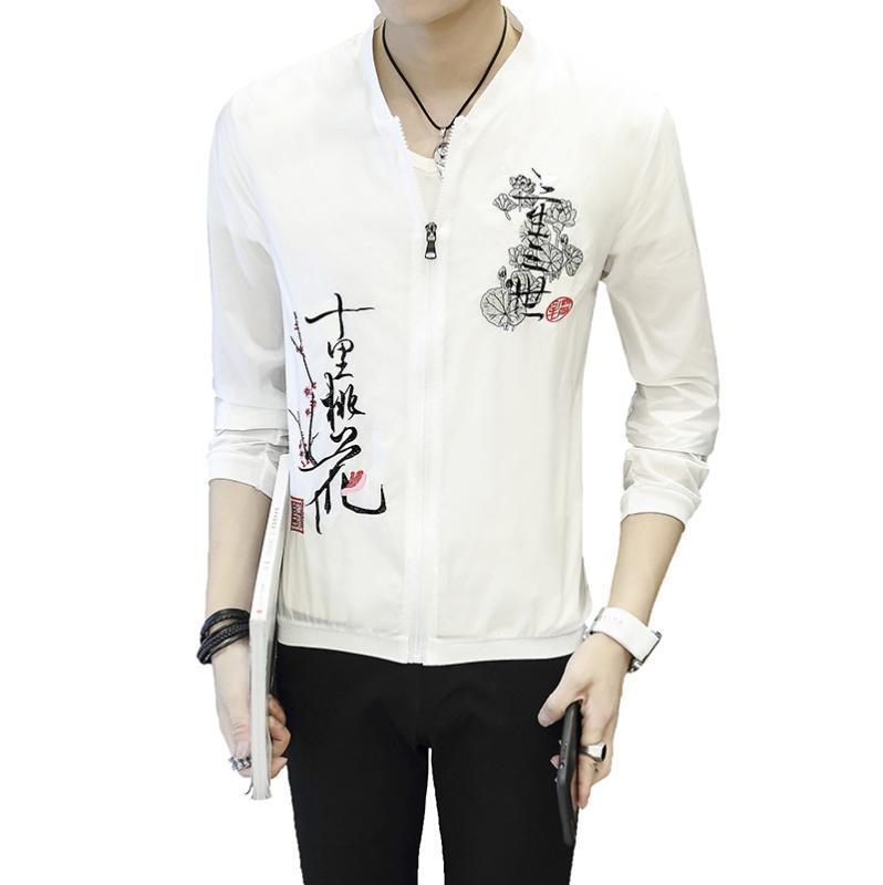 İnce ceketler Erkekler Nakış Slim Fit Bombacı Ceket Beyzbol Yaka Güneş Koruyucu Giysi Streetwear Çin tarzı Coats