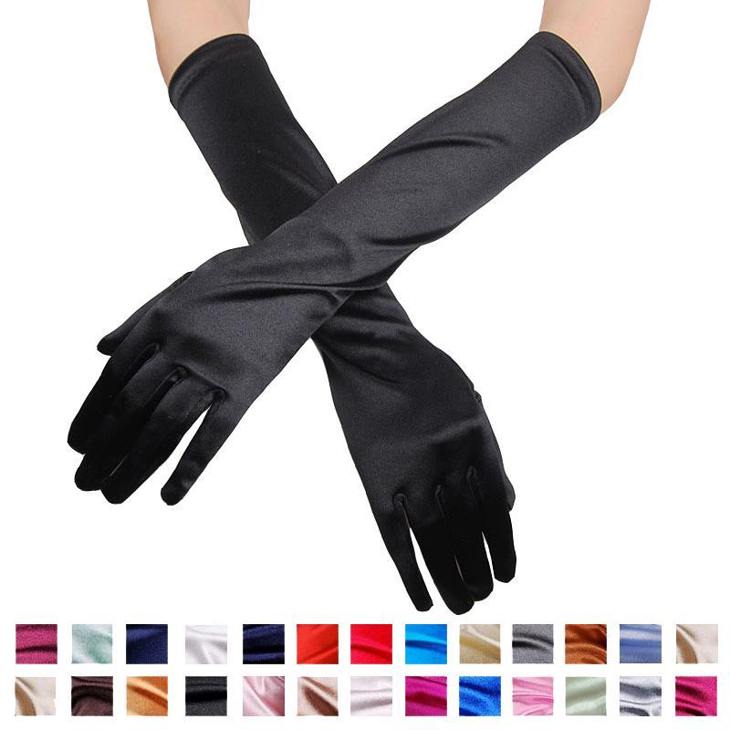 Formale guanti di raso nuziale di banchetto del partito di nozze Opera Unica Cerimonia gomito lunghezza guanti da sposa in raso sera