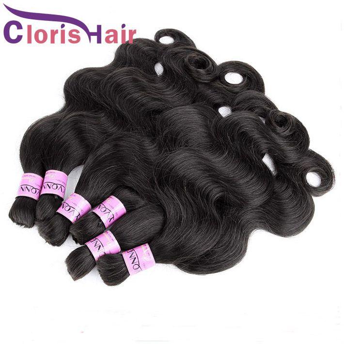 Cabelo de trança humana não transformada onda de cabelo brasileiro Bulk em extensões Nenhum anexo barato molhado e ondulado tecer pacotes para micro trança
