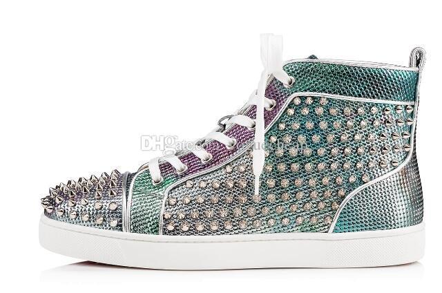 Sneakers Casual luxe unisexe bling Shinny Glitter Vert Haut Haut Bas Bottes Hommes Plateforme Rivets Argent Designer Chaussures à lacets