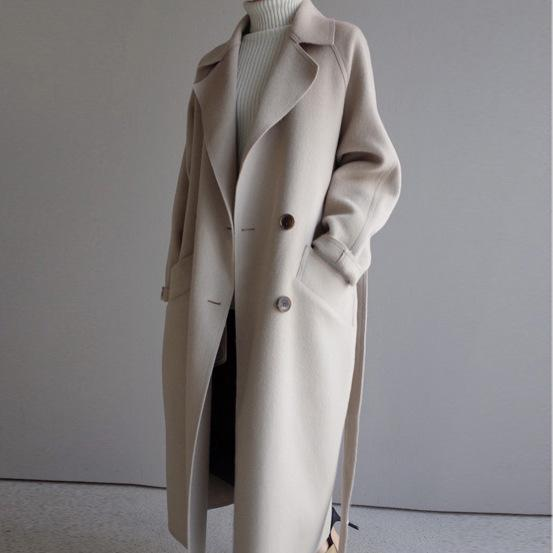 Solides en vrac Femmes Long Cashmer Manteau Fashion Casual chaud Woollen femmes Veste à double boutonnage manteau blanc et veste LY191223