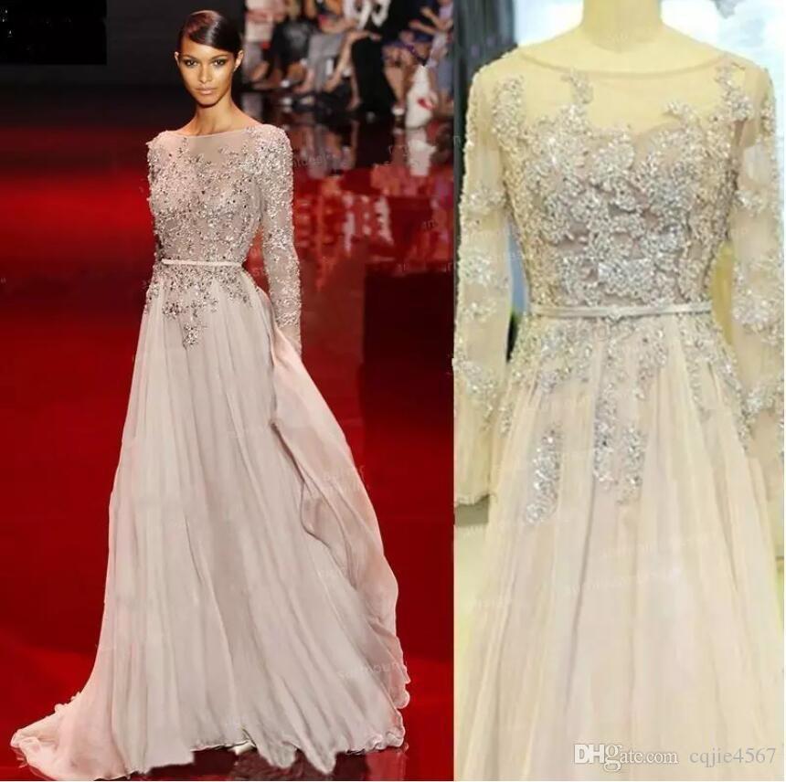 Elie Saab Nueva vestidos de noche de Bling Bling Bateau cuello Prom Vestidos de longitud de bolas de cristal de la alfombra roja ocasión especial
