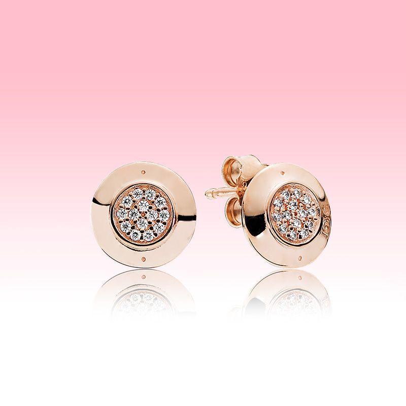 وردة فاخرة مطلية بالذهب عشيق مع مربع الأصلي لباندورا 925 فضة تشيكوسلوفاكيا الماس تمهيد القرص EARRING للمرأة بنات