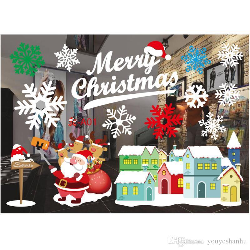 Christmas glass color applique window stickers color wall stickers window applique Christmas decorations