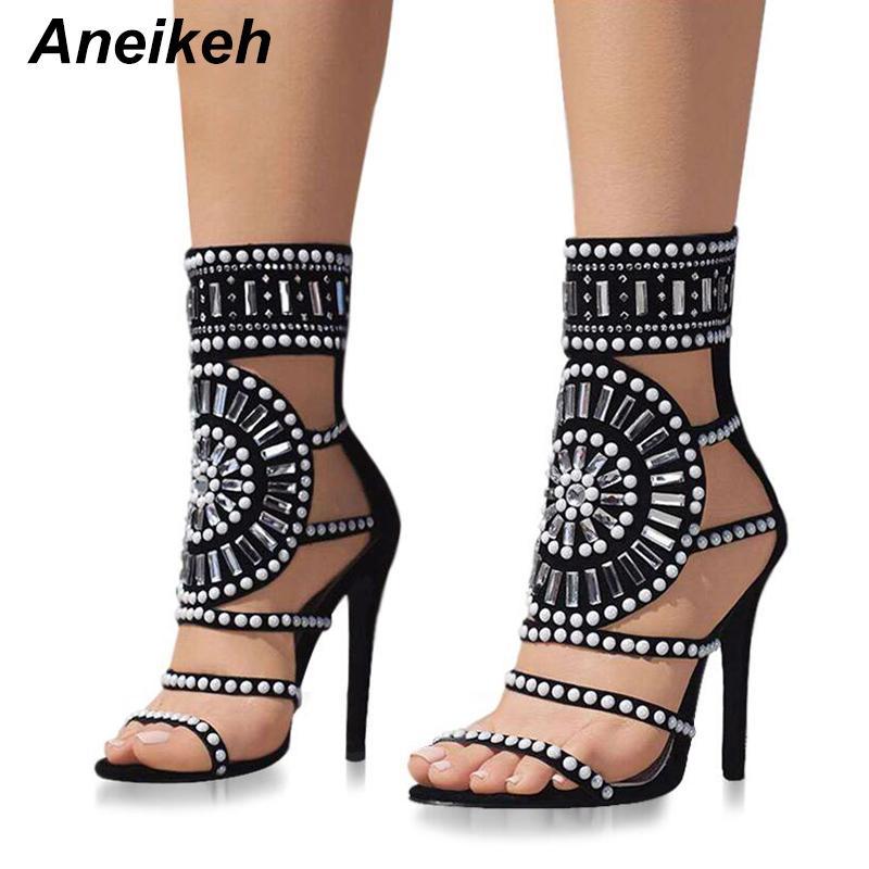 Aneikeh Women Fashion Open Toe Design con strass Sandali con tacco alto Crystal Ankle Wrap Glitter Diamond Gladiator Nero Taglia 35-40 Y190704