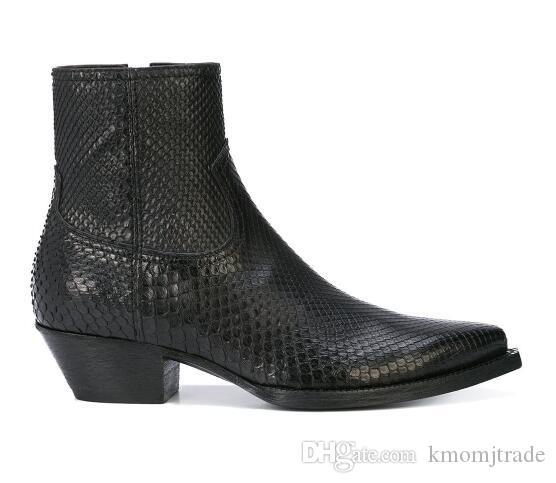 Man Slp Lukas Stiefel Neue Version Python Skin-Effekt aus schwarzem Leder mit seitlichem Reißverschluss Paris Fashion Lukas Stiefel Schuhe
