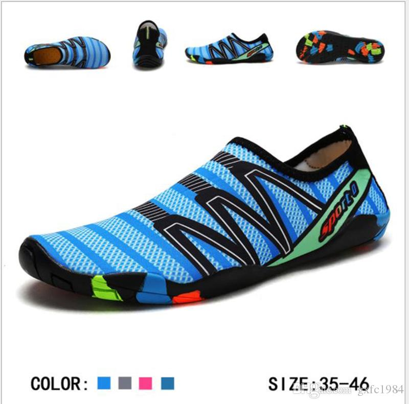 Novas senhoras confortáveis e sapatos de água dos homens de secagem rápida meias água transporte livre de natação praia descalço ao ar livre