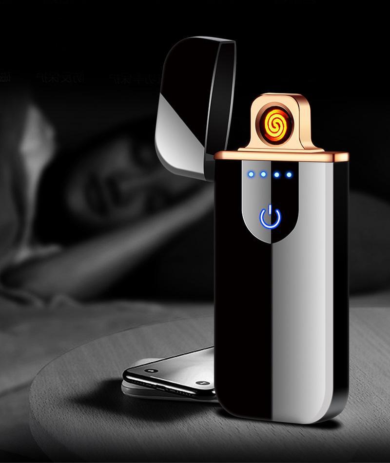 미니 전기 터치 감지 라이터 금속 방풍 히터 얇은 USB 충전식 담배 전체 화면 가제트 남성용