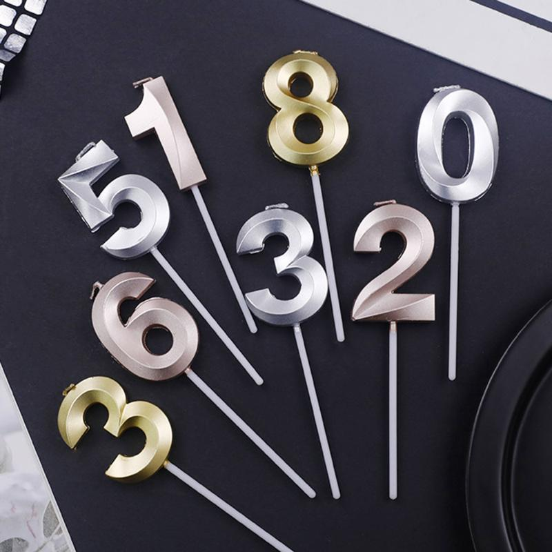 New Gold Silver Champagne Color Number 0-9 Cake Topper Happy Birthday Cupcake Decor Number Candles Party Supplies Baby Shower